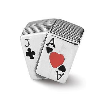 925 Sterling Silber poliert Antike Finish Reflexionen emailliert Blackjack Perle Charme