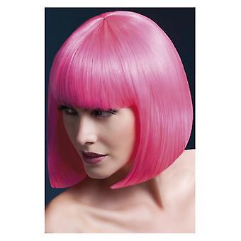 Febbre Elise parrucca, Neon rosa, elegante Bob con frangia, 33cm/13 in costume accessorio