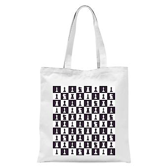 Chess Board Repeat Pattern Monochrome Tote Bag - White