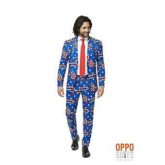Captain America Marvel Comic Suit Suit Slimline Men's 3-Piece Premium