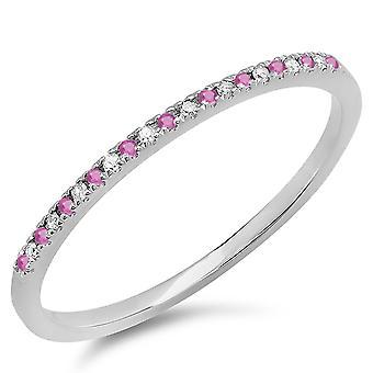 Dazzlingrock Collection 18K Round Pink Sapphire & White Diamond Dainty Anniversary Wedding Stackable Ring, White Gold