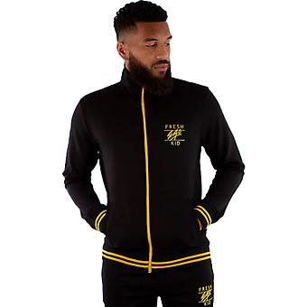 Fresh Ego Zip Front Poly Track Top Black/Yellow 39