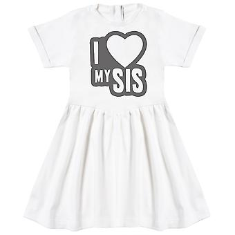 I Love My Sis Black Outline Baby Dress