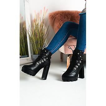 IKRUSH Womens Jilly Lace Up Platform Heeled Boots