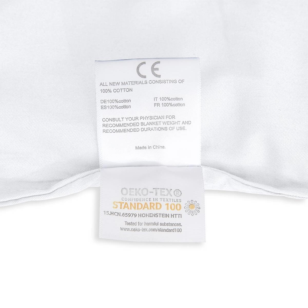 Beckasin Tyngdtäcke 10 kg Vit Bomullssatin – Fritt från polyester