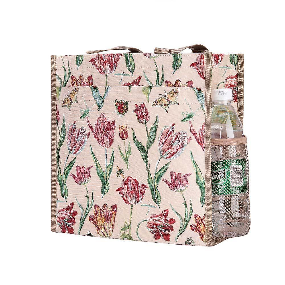 Marrel's tulip white reusable shopper bag by signare tapestry / shop-jmtwt