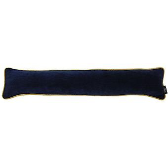 Mcalister textiles alston chenille navy blue + yellow draught excluder