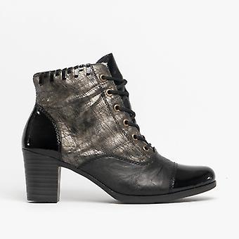 Rieker Y8938-00 Ladies Block Heel Ankle Boots Black/old Silver