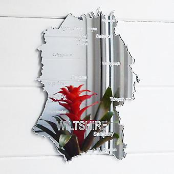 County Map of WILTSHIRE UK Engraved Acrylic Mirror