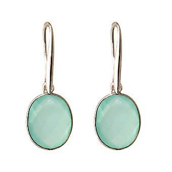 Gemshine Ohrringe OVAL meeresgrüne Chalcedon Edelstein 925 Silber oder vergoldet