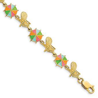Cadeira de Praia de Ouro 14k e guarda-chuva multicolorido alternando pulseira 7,25 polegadas joias presentes para mulheres