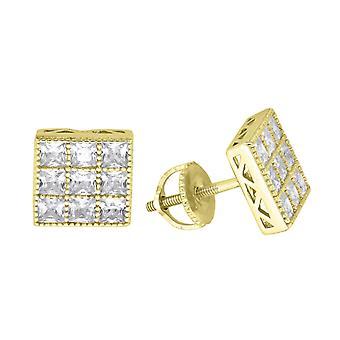 925 Sterling Ezüst Férfi Sárga hang CZ Cubic Cirkónia szimulált Diamond Princess Cut Square Stud fülbevaló ékszer ajándékok