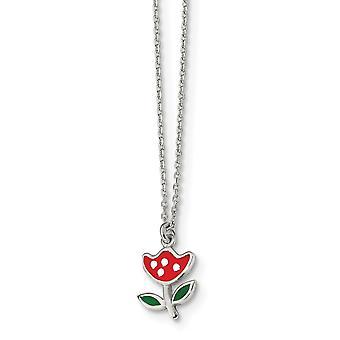 925 Sterling ezüst polírozott és zománcozott piros virág nyaklánc 14 inch - 1,8 gramm