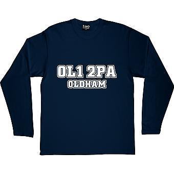 Oldham Athletic Postcode Navy Blue Long-Sleeved T-Shirt