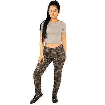 Slim Camouflage Stretchy Fabric Trousers