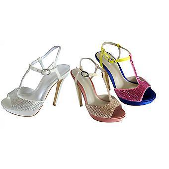 Bourne Women's Diamante Encrusted Satin T-Bar Poppy Bridal Shoes