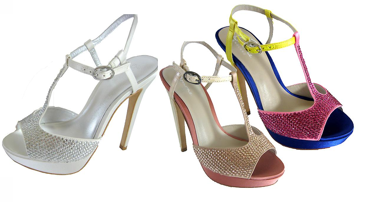 Bourne Women's Diamante Encrusted Satin T-Bar Poppy Bridal Shoes JVJTW