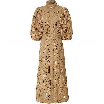 Ganni Broderie Anglaise Puff Sleeve Dress