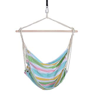 Outsunny Outdoor Hammock Hanging Rope Chair Garden Yard Patio Swing Seat Wooden w/High Quality Cotton Cloth and Ropes (Green)