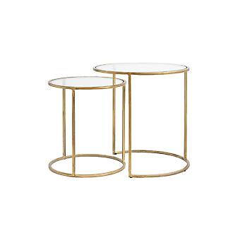 Light & Living Side Table Set Of 2 40x45 And 50x52cm Duarte Glass-Gold
