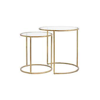 ライト&リビングサイドテーブルセット 2 40x45および50x52cmデュアルテガラスゴールド