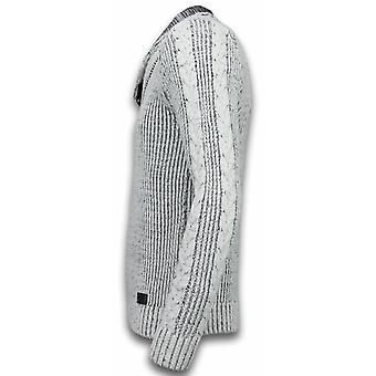 Knitted Mens sweater-Exclusive Shawl collar buttons-grey