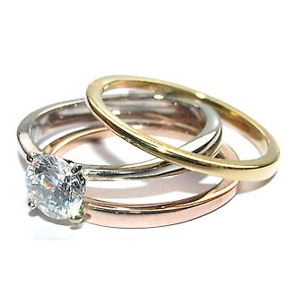 Ah! Jewellery 3pcs Tri Colour 1.2ct Solitaire Simulated Diamond Ring Set. Stainless Steel Stamped 316.