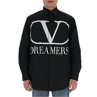 Valentino Tv0cia9969p0ni Männer's schwarze Baumwolle Shirt