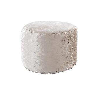 Nijlpaard | Ronde Bean Bag Footstool Pouffe Seat in Shiny Crushed Velvet Fabric (Mink)