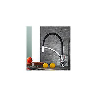 Kitchen Mixer With Black Flexible Flexible Extractive Shower