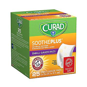 Curad sootheplus small gauze pads, 2 inch x 2 inch, 25 ea
