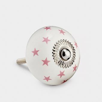 Ceramic Door Knob - White / Pink - Stars