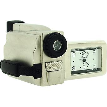 Miniature Chrome Plated Metal Video Camera Novelty Collectors Clock IMP1057