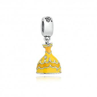Sterling Silver Pendant Charm Yellow Dress - 5478