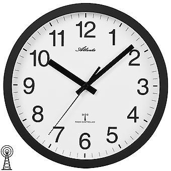أتلانتا 4496/7 الجدار ساعة راديو راديو ساعة على مدار الساعة التناظرية الأسود