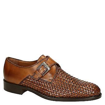 Tan woven leather single monkstrap shoes handmade