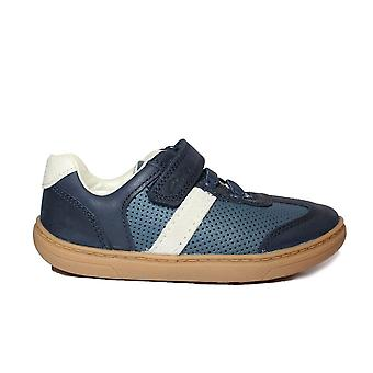 Clarks Flash Step Toddler Navy Combi Leather Boys Rip Tape/Bungee Lace Shoes