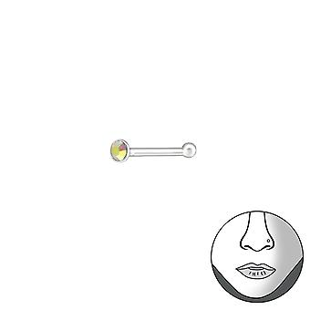 Hopea pyöreä 1,5 mm nenä Studs pallo ja Crystal - 925 Sterling Silver nenä Studs - W37467x