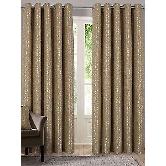 Belle Maison Lined Eyelet Curtains, Nova Range, 46x54 Gold