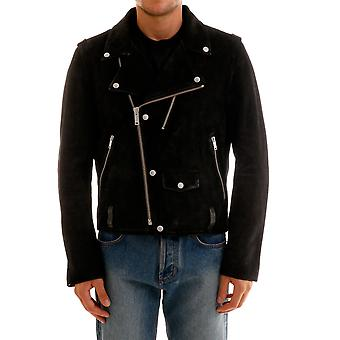 Golden Goose G35mp537a4 Men's Black Leather Outerwear Jacket