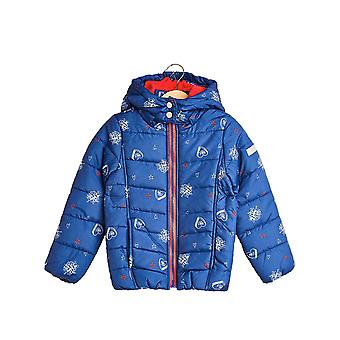 Esprit Girls' Quilted Jacket With A Print And An Adjustable Hood