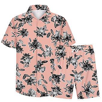 Allthemen Men&s 3D Floral Suits 2-szt Shirt & Shorts