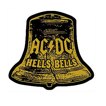 AC/DC Patch Hells Bells Distressed Logo Official Black Woven Cut Out 9 x 10cm