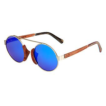 Earth Wood Anakena Polarized Sunglasses - Brown/Blue