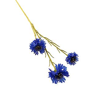 62cm Flocked Cornflower Stem - Artificial Fabric Flowers
