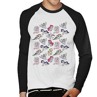 My Little Pony Flying Montage Men's Baseball Long Sleeved T-Shirt