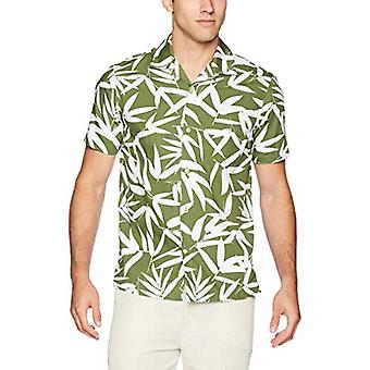 28 Palms Men's Standard-Fit 100% Cotton Tropical Hawaiian Shirt, Olive/White ...