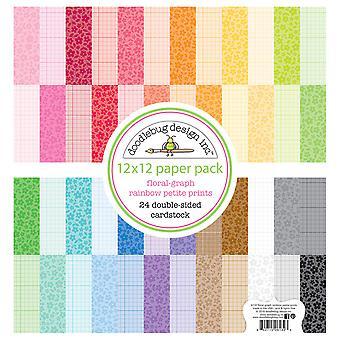 Doodlebug Design Floral-Graph Rainbow 12x12 Cal Petite Drukuje Papier Pack