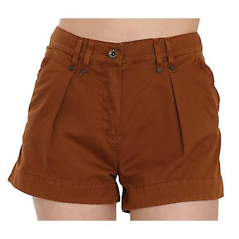 Brown Mid Waist Cotton Denim Mini Shorts -- PAN7514224