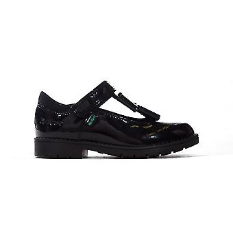Kickers Lachly Bow T-Bar Patent Leather Infant Toddler Kids Girls Shoe Black